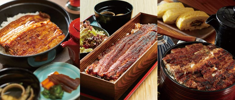 Left: Chikuyotei / Center: Uya 四代目菊川 / Right: Man Man Japanese Unagi Restaurant