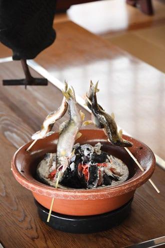 grilled ayu fish skewers