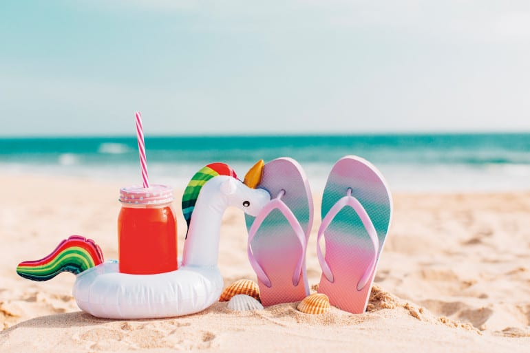 summer flip flops with smoothies and unicorns